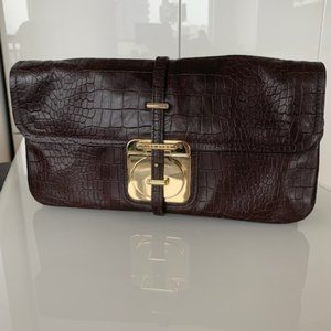 Hugo Boss Brown Leather and Gold Clutch